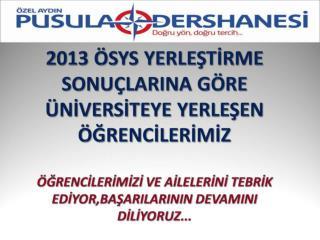 2013 LYS YERLEŞTİRME SONUÇLARI SUNU