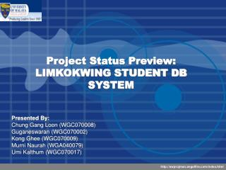 Project Status Preview: LIMKOKWING STUDENT DB SYSTEM