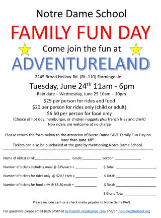 Tuesday, June  24 th  11am - 6pm Rain date � Wednesday, June 25 10am � 10pm