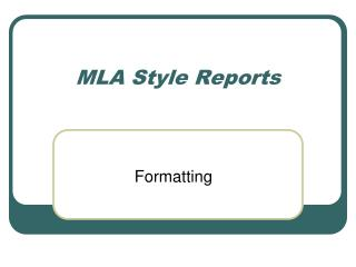 MLA Style Reports