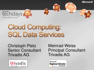 Cloud Computing:  SQL Data Services