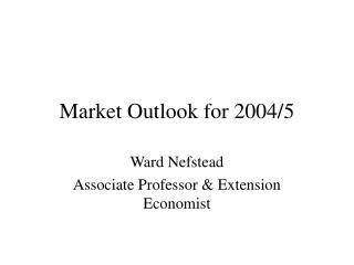 Market Outlook for 2004/5