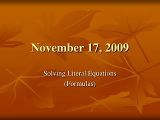 November 17, 2009