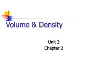 Volume & Density