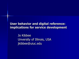 User behavior and digital reference: implications for service development