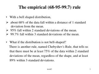 The empirical (68-95-99.7) rule
