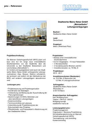 """Stadtwerke Mainz Netze GmbH """"Mainzelbahn"""" Leitungsverlegungen"""