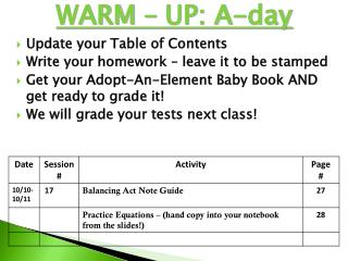 WARM – UP: A-day