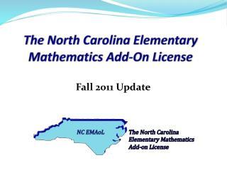 The North Carolina Elementary Mathematics Add-On License
