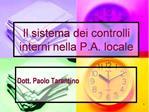 Il sistema dei controlli interni nella P.A. locale