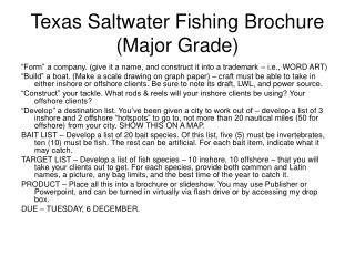 Texas Saltwater Fishing Brochure (Major Grade)
