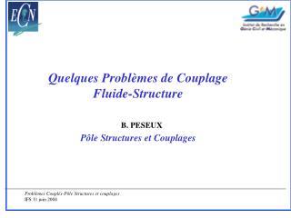 Quelques Problèmes de Couplage  Fluide-Structure Pôle Structures et Couplages