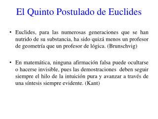 El Quinto Postulado de Euclides