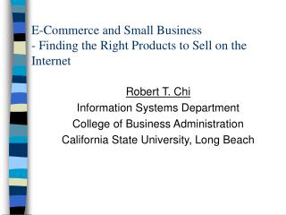 E-Commerce and Small Business  - Finding the Right Products to Sell on the Internet