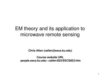 EM theory and its application to microwave remote sensing