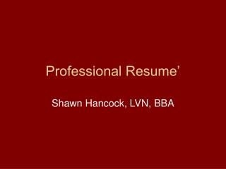 Professional Resume'