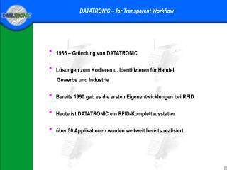 1986 – Gründung von DATATRONIC