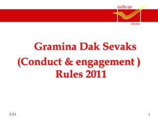 Gramina Dak Sevaks  (Conduct & engagement ) Rules 2011