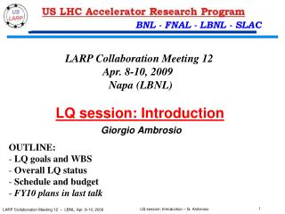 LQ session: Introduction Giorgio Ambrosio