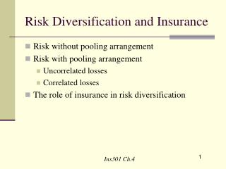 Risk Diversification and Insurance