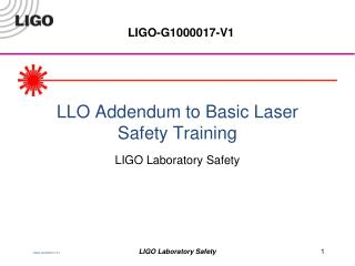 LLO Addendum to Basic Laser Safety Training