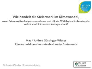 Wie handelt die Steiermark im  Klimawandel,