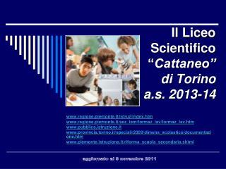 """Il Liceo Scientifico             """" Cattaneo"""" di Torino a.s.  2013-14"""