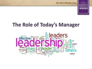 The Role of Today's Manager
