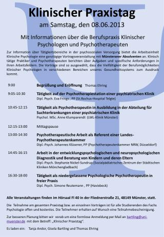 Klinischer Praxistag  am Samstag, den 08.06.2013