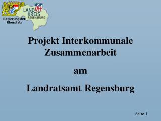 Projekt Interkommunale Zusammenarbeit  am  Landratsamt Regensburg