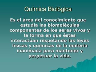 Qu�mica Biol�gica