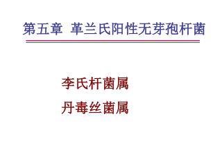 第五章 革兰氏阳性无芽孢杆菌