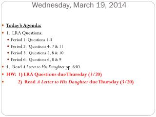Wednesday, March 19, 2014