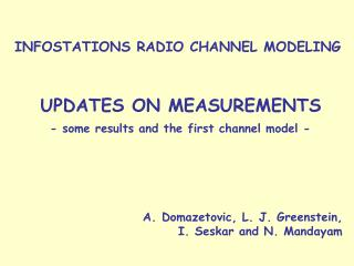 INFOSTATIONS RADIO CHANNEL MODELING