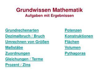 Grundwissen Mathematik Aufgaben mit Ergebnissen