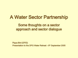 A Water Sector Partnership