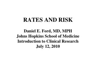 RATES AND RISK