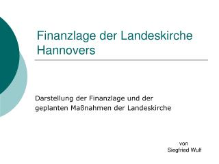 Finanzlage der Landeskirche Hannovers