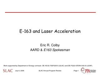 E-163 and Laser Acceleration
