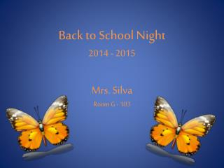 Back to School Night 2014 - 2015