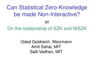 Can Statistical Zero-Knowledge be made Non-Interactive?