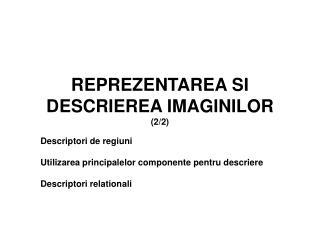 REPREZENTAREA SI DESCRIEREA IMAGINILOR (2/2)