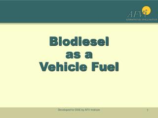 Biodiesel as a  Vehicle Fuel