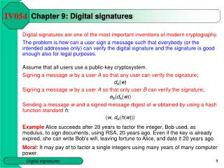 Chapter 9: Digital signatures