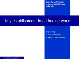Key establishment in ad hoc networks