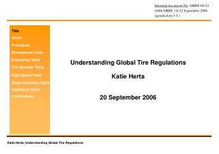 Understanding Global Tire Regulations Katie Herta 20 September 2006