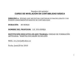 Nombre del módulo : CURSO DE NIVELACIÓN EN CONTABILIDAD BÁSICA