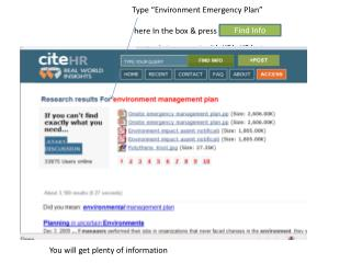 "Type  ""Environment Emergency Plan""  here In the box & press"