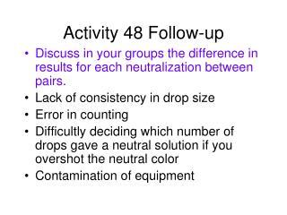 Activity 48 Follow-up