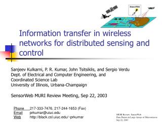 Information transfer in wireless networks for distributed sensing and control